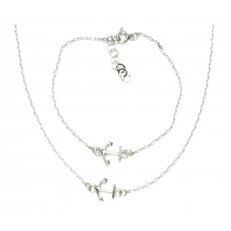 PIĘKNY SREBRNY KOMPLET KOTWICE srebro pr. 925