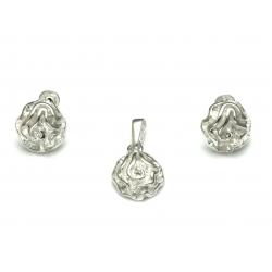 Srebrny Komplet KWIATY KWIAT srebro 925