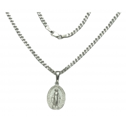 Srebrny medalik Niepokalana + łańcuszek pr 925
