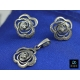 Srebrny komplet KWIATY KWIAT srebro 925 NA PREZENT