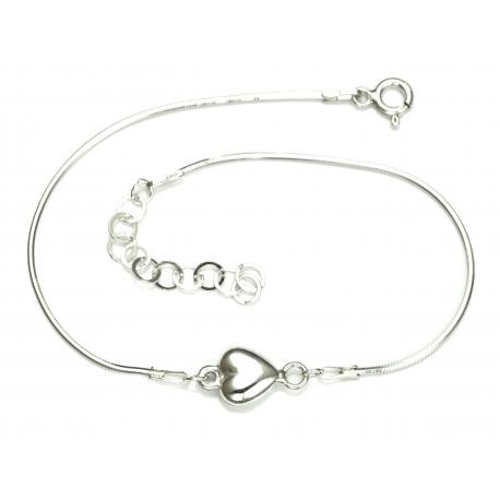 Piękna bransoletka linka z serduszkiem srebro 925