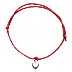 Bransoletka sznurkowa serce serduszko srebro 925