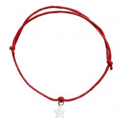 Bransoletka sznurkowa gwiazdka gwiazda srebro 925