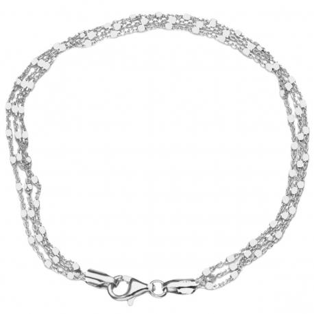 Bransoletka POTRÓJNA Z KOSTKAMI 18cm srebro 925