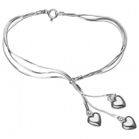 Bransoletka POTRÓJNA SERCE 18cm srebro p 925